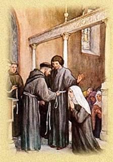 Luchese (Lúcio) e Buona professam na Ordem dos Irmãos e Irmãs da Penitência (hoje OFS) e são investidos com o hábito da Terceira Ordem pelo próprio São Francisco.